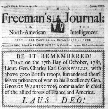 front page Cornwalli surrender